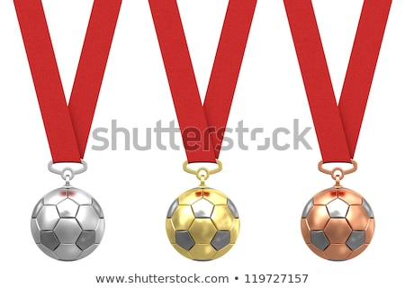 Stock photo: Gold, silver and bronze soccer medals