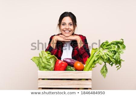 Foto stock: Mulher · cesta · legumes · comida · saúde · vermelho