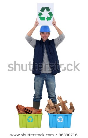 Young tradesman promoting recycling Stock photo © photography33