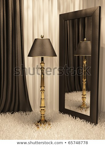 standard lamp with mirror and carpet in luxurious interior Stock photo © Victoria_Andreas
