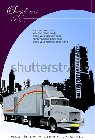 Cover for brochure with urban silhouette and lorry image. Vector Stock photo © leonido