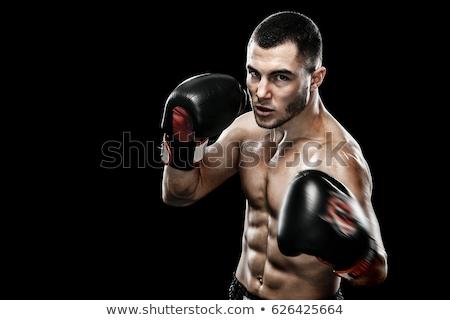 Boxeador negro deporte contacto poder anillo Foto stock © photography33