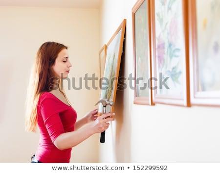 Mujer marco de imagen martillo paisaje marco herramientas Foto stock © photography33