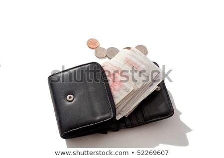 Pénztárca pénztárca érmék jegyzet nyitva izolált Stock fotó © leeavison