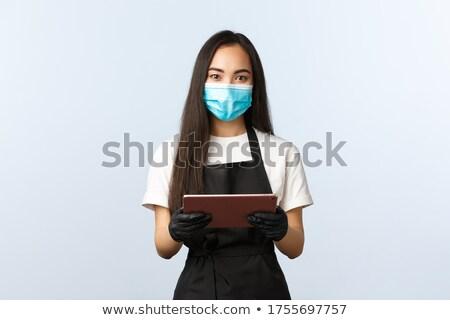 serveerster · om · papier · hand · vrouwen · pen - stockfoto © lisafx