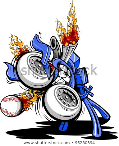 Monster Baseball Pitching Machine Cartoon Vector Illustraton Foto stock © ChromaCo