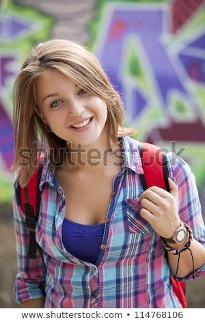 Stílus tinilány áll graffiti fal lány Stock fotó © Massonforstock