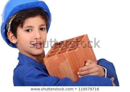 Dziecko mason dzieci budynku pracy cegły Zdjęcia stock © photography33