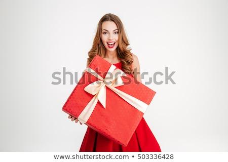 Gyönyörű mikulás lány ajándék doboz néz kamerába Stock fotó © photosebia