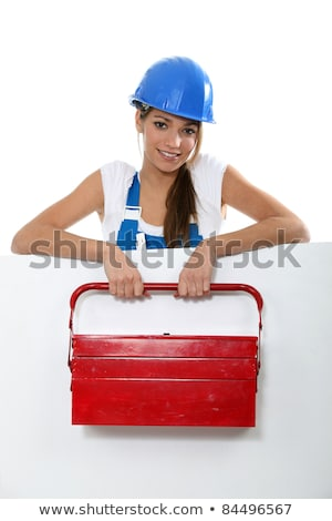Female labourer stood behind message board Stock photo © photography33