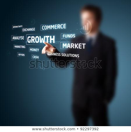 üzletember · kisajtolás · modern · üzlet · gombok - stock fotó © ra2studio