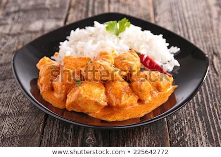 caril · de · frango · arroz · servido · superfície · comida - foto stock © m-studio