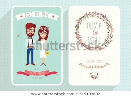 invitación · de · la · boda · tarjeta · art · deco · vintage · estilo · guardar - foto stock © marish