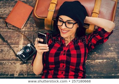 középső · rész · nő · tart · retro · kamera · park - stock fotó © dashapetrenko