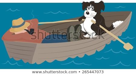 青 · ローイング · ボート · ミニチュア · 孤立した · 白 - ストックフォト © ivonnewierink