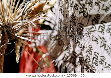 Withered Lily and Buddhist Banner Stock photo © eldadcarin