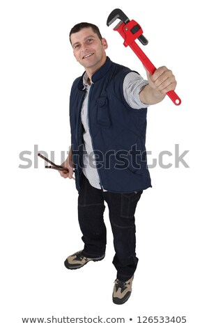Plumber holding his favorite wrench Stock photo © photography33
