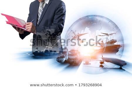 Stockfoto: Wereld · vracht · vervoer · documenten · business · wereldbol
