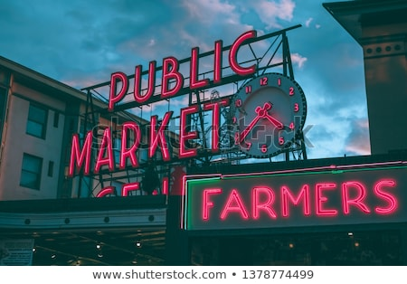 City Fish Public Market Neon Sign Seattle Washington Stock photo © cboswell