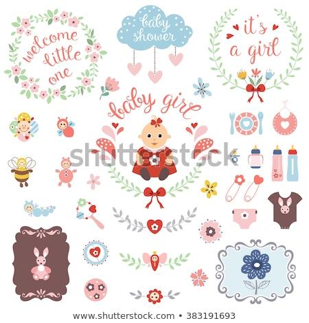 új · kislány · közlemény · kártya · lány · játék - stock fotó © balasoiu