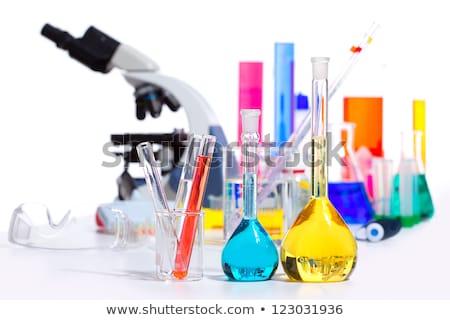 Laboratory stuff, glass cylinder, colorful liquids Stock photo © lunamarina
