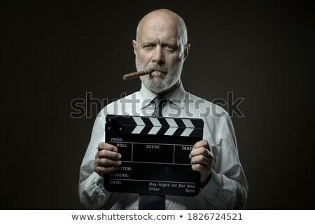 zakenman · leeftijd · stropdas · poseren · midden · handen - stockfoto © lunamarina