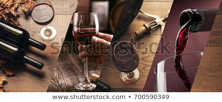 dégustation · de · vin · collage · trois · illustrations · homme - photo stock © Porteador