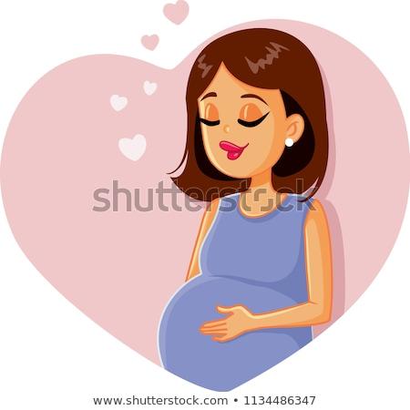 Stock fotó: új · baba · közlemény · kártya · terhes · nő · lány