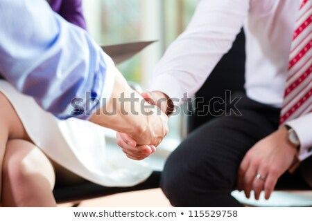 Stock fotó: Man Shaking Hands With Manager At Job Interview Closeup Cutout