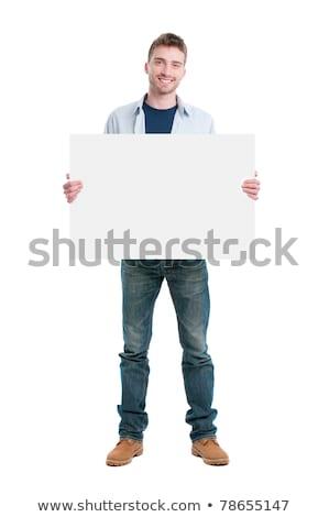 genç · çocuk · ayakta · arkasında · tahta · beyaz - stok fotoğraf © adam121