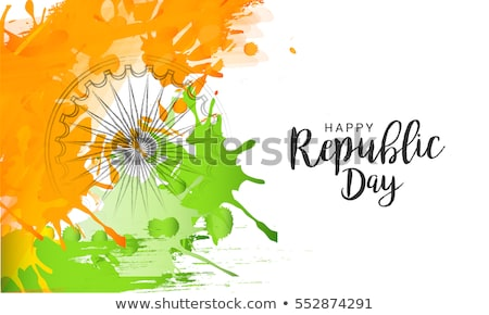 happy republic day indian flag grunge tricolor vector design stock photo © bharat