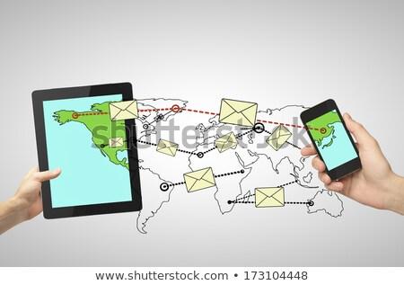 tabletta · üzenet · internet · világ · posta · kommunikáció - stock fotó © burakowski