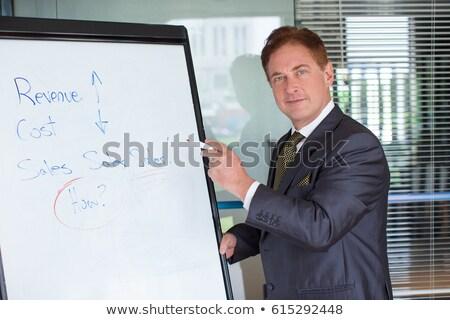 Empresário palestra em pé pódio microfone mãos Foto stock © Istanbul2009