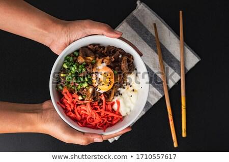 Японский · говядины · риса · чаши · красный · приготовления - Сток-фото © varts