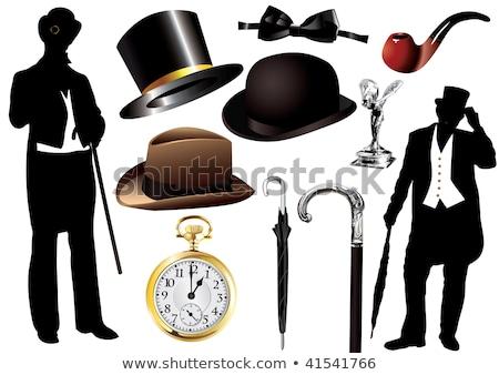 английский джентльмен силуэта зонтик иллюстрация британский Сток-фото © coolgraphic