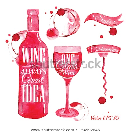 corkscrew with red wine stains stock photo © karandaev