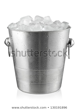 Bucket with ice cubes Stock photo © karandaev