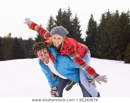 Jonge vrouw alpine sneeuw scène vrouw gelukkig Stockfoto © monkey_business