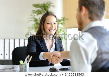 üzletemberek · kézfogás · izolált · stúdiófelvétel · üzletember · üzletasszony - stock fotó © dgilder