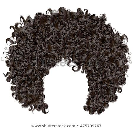 Afro peruk beyaz parti moda saç Stok fotoğraf © nito
