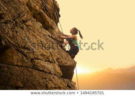 Stock photo: mountain climbing and hiking silhouettes