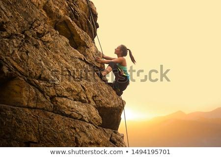 Caminhadas silhuetas esportes natureza montanha Foto stock © Slobelix