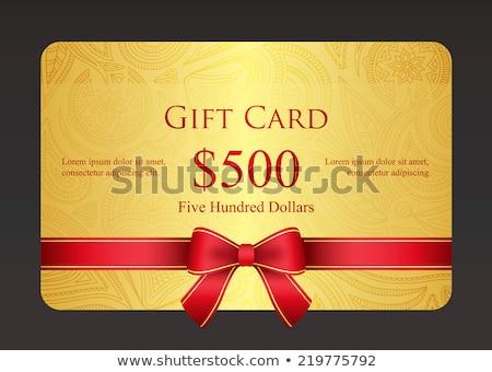 Vermelho cartão de presente padrão dourado fita exclusivo Foto stock © liliwhite