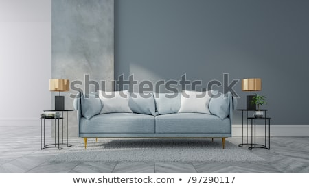Interior in blue tones with a sofa and lamp Stock photo © Serp