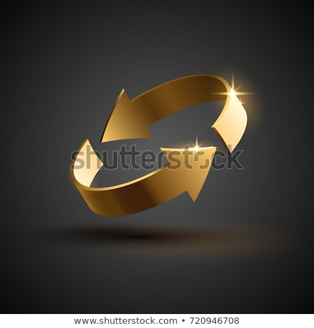 recycle gold vector icon button stock photo © rizwanali3d