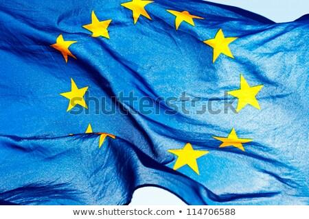 Foto stock: Europeu · união · bandeira · luz · azul · céu · azul