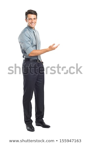 business man presenting over a white background stock photo © deandrobot