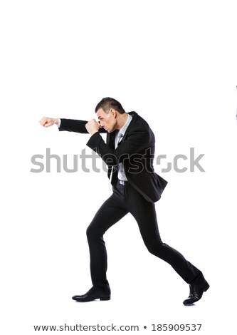 Full-length portrait of a businessman punching isolated on a white background Stock photo © deandrobot