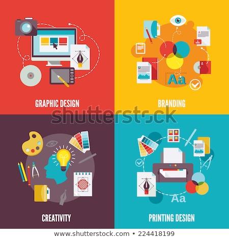 Branding, graphic design and printing design icon set Stock photo © robuart