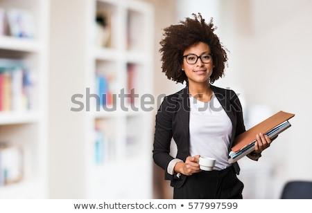 fiatal · üzletasszony · mappa · mosolyog · könyv · izolált - stock fotó © Kurhan